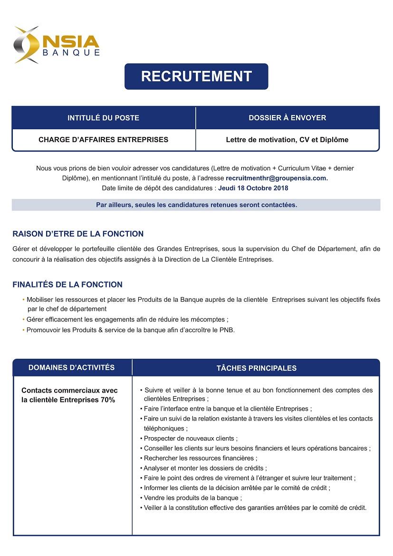 nsia banque recrute charge d u2019affaires entreprises  u2013  yatravail com